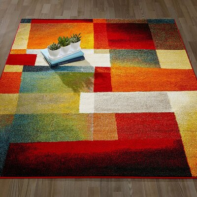 City Geometric/Abstract Tiles Red Area Rug