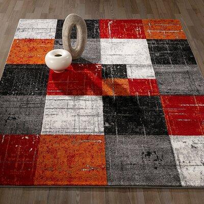 City Geometric/Square Tiles Red/Orange Area Rug