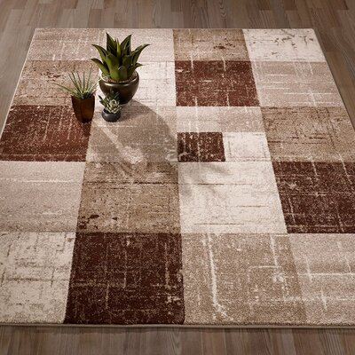 City Geometric/Square Tiles Brown/Beige Area Rug