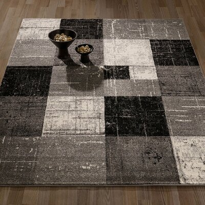 City Geometric/Square Tiles Gray/Black Area Rug