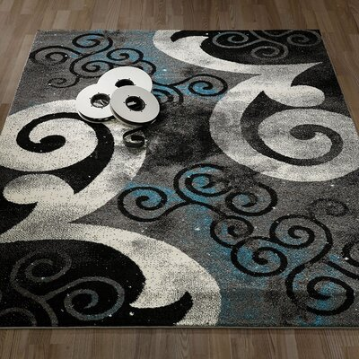 City Abstract/Swirl Gray/Blue Area Rug