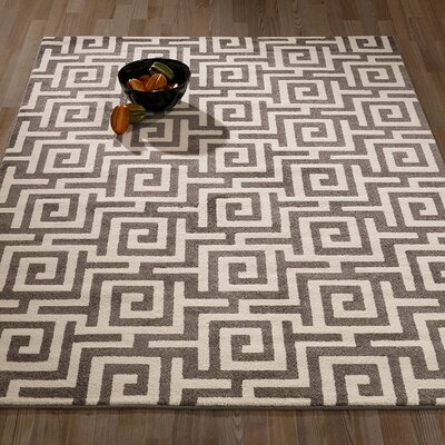 City Geometric/Greek Key Dark Grey Area Rug