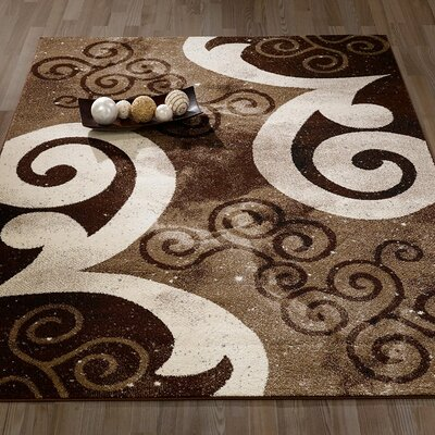 City Abstract/Swirl Brown/Beige Area Rug