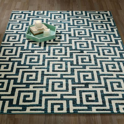 City Geometric/Greek Key Blue Area Rug