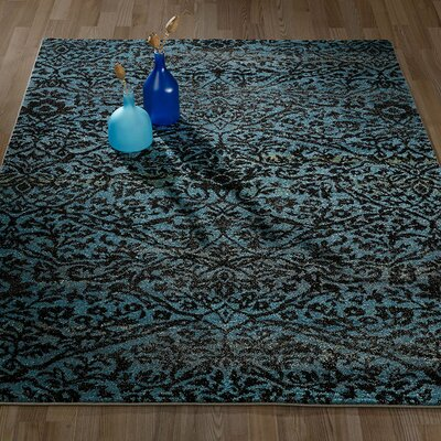 City Floral/Damask Blue Area Rug