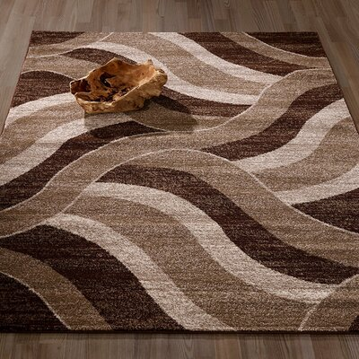 City Abstract/Waves Brown/Beige Area Rug