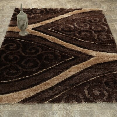 Casa Regina Shaggy 3D Wishbone Spiral Brown Area Rug