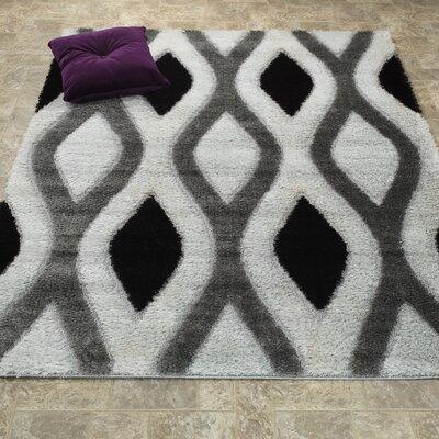 Casa Regina Shaggy 3D Trellis White/Gray Area Rug