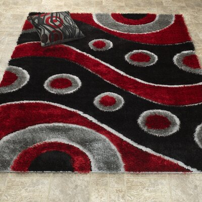 Casa Regina Shaggy 3D Wave Red/Black Area Rug
