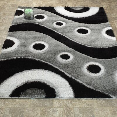 Casa Regina Shaggy 3D Wave Gray/Black Area Rug
