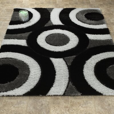 Casa Regina Shaggy 3D Circle Gray/Black Area Rug