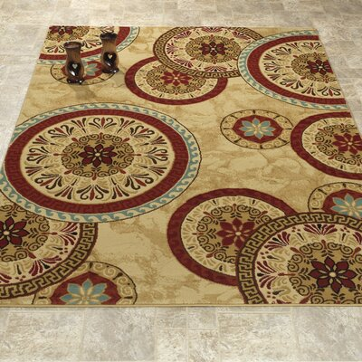 Elegant Modern Contemporary Beige/Red Area Rug