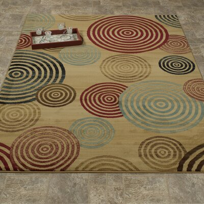 Elegant Modern Contemporary Beige/brown/red Area Rug