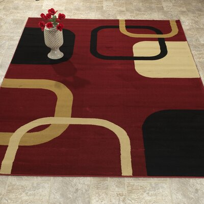 Elegant Modern Contemporary Burgundy/Black Area Rug