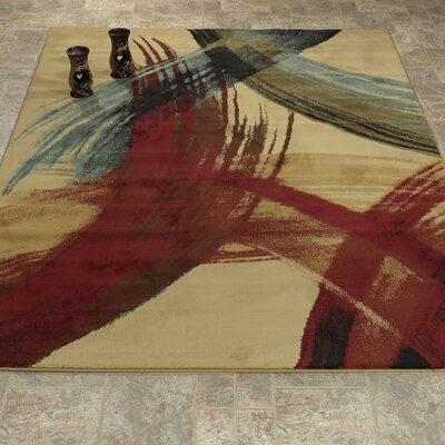 Elegant Modern Contemporary Beige/Red/Teal Area Rug