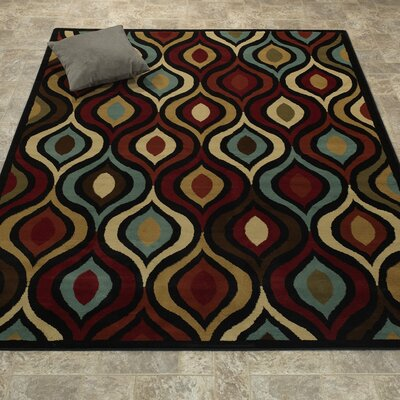Elegant Modern Contemporary Red/Ivory/Brown Area Rug