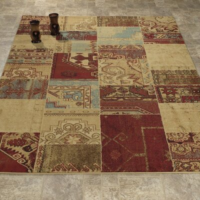 Elegant Modern Contemporary Beige/Burgundy Area Rug