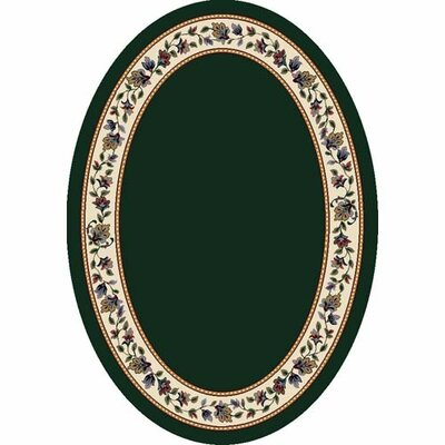 Signature Symphony Emerald Solid Area Rug Rug Size: Oval 54 x 78