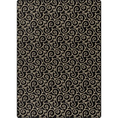 Imagine Lyrical Velvet Black Area Rug Rug Size: 78 x 109