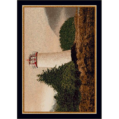 Fall Seasonal Brown/White Cape Lighthouse Area Rug Rug Size: 2'8