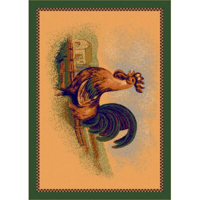 Fall Seasonal Tan Rise and Shine Rooster Area Rug Rug Size: Rectangle 28 x 310