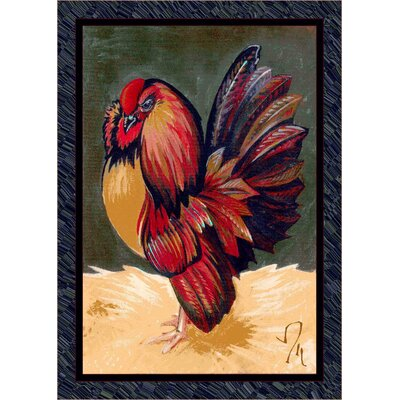 Fall Seasonal Red/Green Provincial Rooster Area Rug Rug Size: 3'10