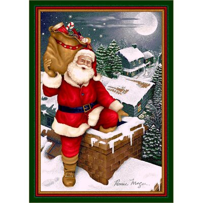 Winter Seasonal Up on the Housetop Christmas Area Rug Rug Size: Rectangle 54 x 78