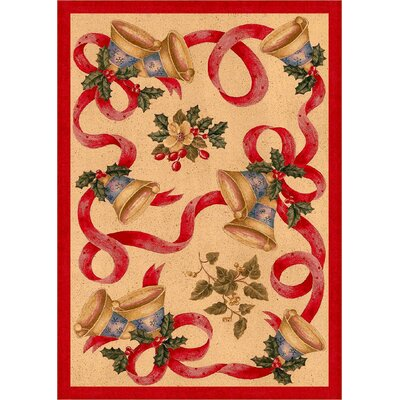 Winter Seasonal Holiday Bells and Bows Red/Beige Area Rug Rug Size: 54 x 78