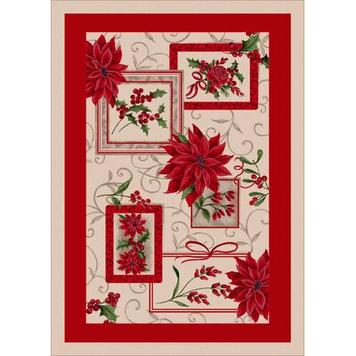 Winter Seasonal Holiday Winter Bouquet Red/ Beige Area Rug Rug Size: Rectangle 28 x 310