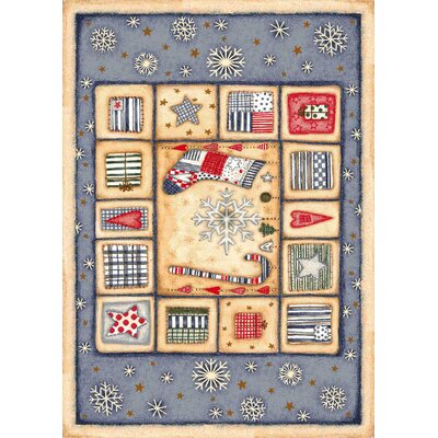 Winter Seasonal Holiday Patch of Snow Blue/ Biege Area Rug Rug Size: Rectangle 54 x 78