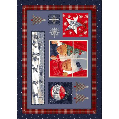 Winter Seasonal Holiday Christmas Cuddles Blue Area Rug Rug Size: 54 x 78