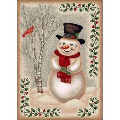 Winter Seasonl Snowman Beige Area Rug Rug Size: 310 x 54