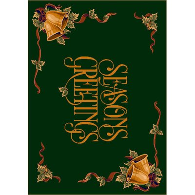 Winter Seasons Greetings Green Area Rug Rug Size: 28 x 310
