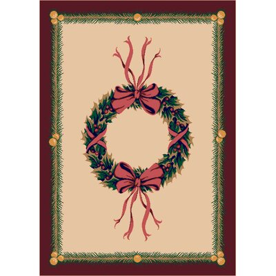 Winter Seasonal Holiday Beige Area Rug Rug Size: 310 x 54