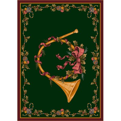 Winter Seasonal French Horn Green Area Rug Rug Size: 54 x 78