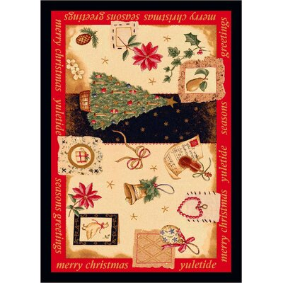 Winter Seasonal Holiday Yuletide Christmas Beige Area Rug Rug Size: Rectangle 28 x 310