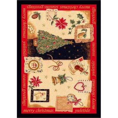 "Winter Seasonal Holiday Yuletide Christmas Beige Area Rug Rug Size: 3'10"" x 5'4"