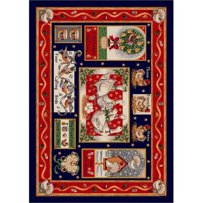 Winter Seasonal Holiday Partridge in a Pear Tree Christmas Red Area Rug Rug Size: 28 x 310