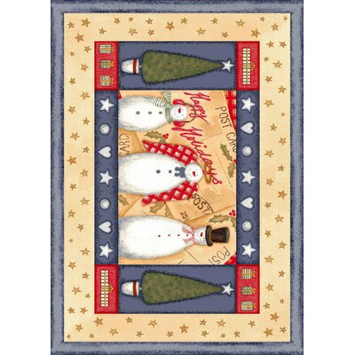 Winter Seasonal Holiday Frosty and Family Beige Area Rug Rug Size: Rectangle 28 x 310