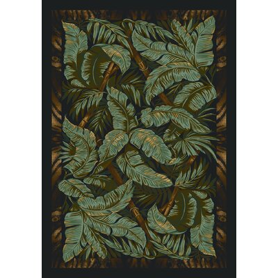 Signature Jungle Fever Ebony Area Rug Rug Size: Round 77