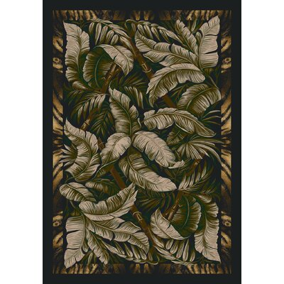 Signature Jungle Fever Ebony Sage Area Rug Rug Size: Rectangle 109 x 132