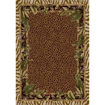 Signature Jungle Safari Pearl Mist Area Rug Rug Size: Oval 54 x 78