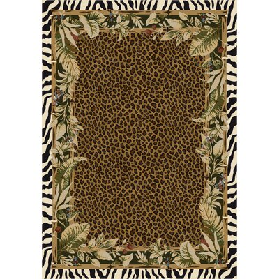 Signature Jungle Safari Emerald Area Rug Rug Size: Oval 54 x 78