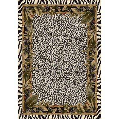 Signature Jungle Safari Snow Leopard Area Rug Rug Size: Oval 54 x 78