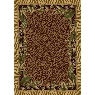 Signature Jungle Safari Pale Topaz Area Rug Rug Size: Oval 54 x 78