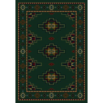 Signature Prairie Star Emerald Area Rug Rug Size: Rectangle 109 x 132