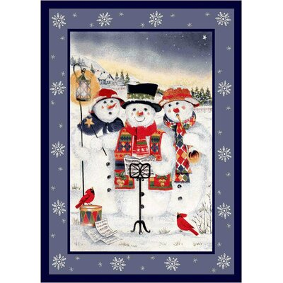 Winter Seasonal Holiday Merry Minstrels Snowman White/ Blue Area Rug Rug Size: Rectangle 28 x 310