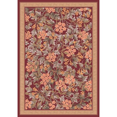 Pastiche Delphi Damask Red Floral Rug Rug Size: Rectangle 54 x 78