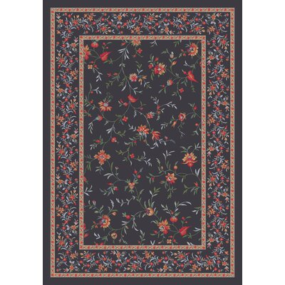 Pastiche Hampshire Floral Ebony Rug Rug Size: Rectangle 78 x 109