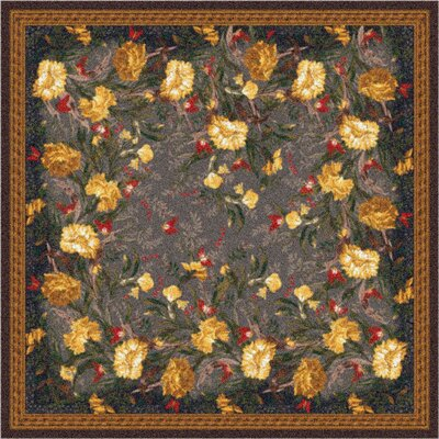 Pastiche Barrington Court Ebony Floral Rug Rug Size: Octagon 77
